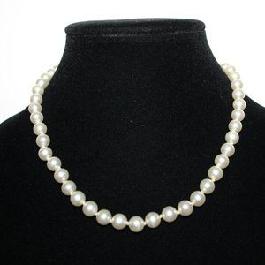 Vintage white tied pearl necklace 17""